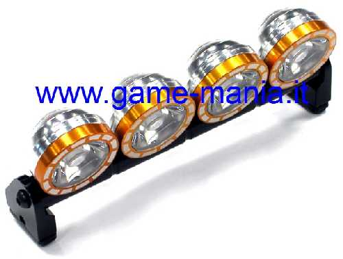 Barra luci tetto 4 fari IN LEGA ARANCIO e LED per scalers 1:10 by Integy