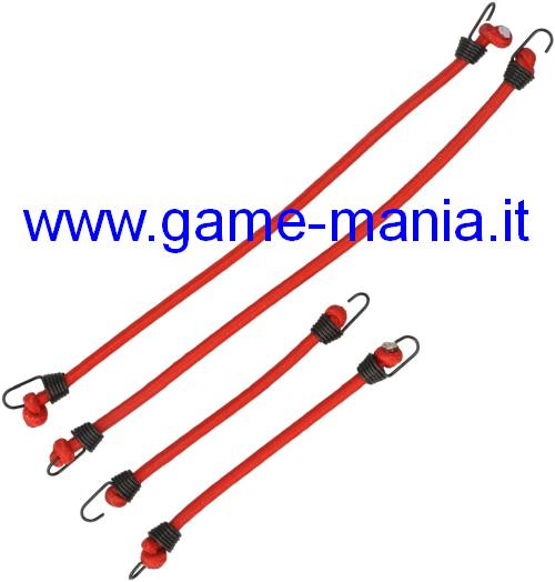 Set 4 corde elastiche rosse con ganci in scala by Robitronic