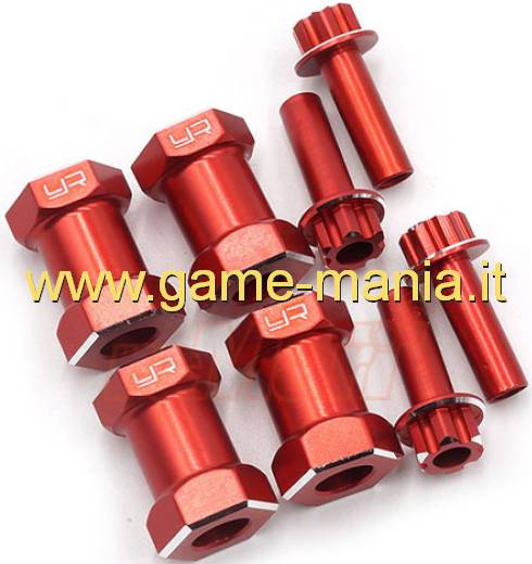 Distanziali 20mm rossi per esagoni da 12mm (4 pz.) by Yeah Racing